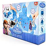 Disney Frozen Play Sand Set for Kids - Build Blue Coloured Kinetic Magic Sandbox Kit with Moulds & Tray - 1lb Castle Super Box Playset