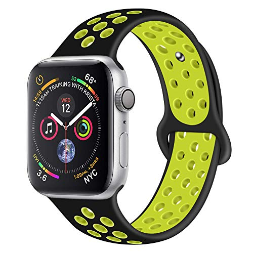 Muzzai Band Compatible for Apple Watch Bands 38mm 40mm 42mm 44mm,Soft Silicone Strap Replacement Band Compatible for Apple Watch Sport 1/2/3/4,Women Man,S/M M/L