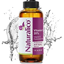 Naturalico Anti Aging Organic 20% Vitamin C Serum for Face with Hyaluronic Acid 1 Oz