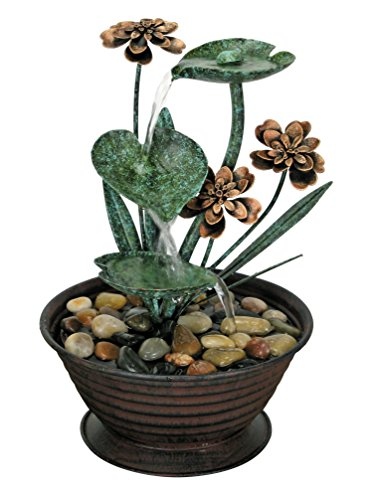 Nature's Garden Lily Pad Metal Fountain, Green