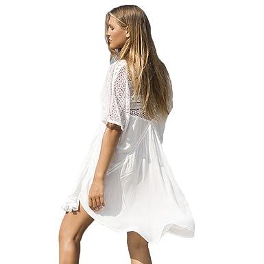WINWINTOM Women Summer Casual Backless Prom Cocktail Lace Short Mini Dress, Beach Dress Geometric Pattern