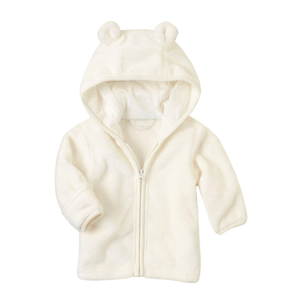 Zerototens Baby Coat, 0-24 Months Newborn Infant Kids Outwear Toddler Boys Girls Solid Color Animal Ear Hooded Tops Children Zipper Jacket Autumn Winter Outfit