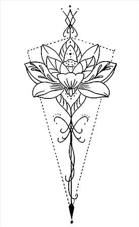 Tatuajes temporales de flores de loto para hombre y mujer, tatuaje ...