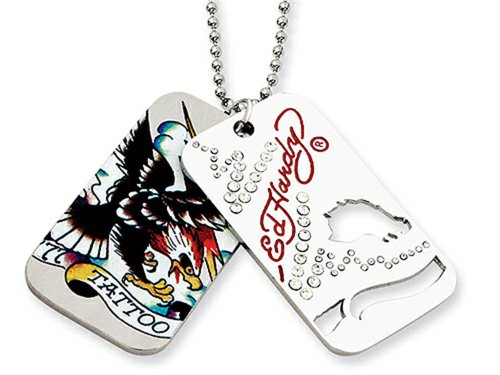 Ed Hardy Tattoo 2-piece Dog Tag Painted Necklace Stainless (Ed Hardy Dog Tag)