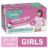 Pampers Easy Ups Pull On Disposable Training Diaper for Girls Size 4 (2T-3T), Giant Pack, 112 Count