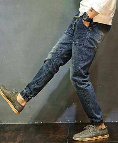 メンズ デニム ヴィンテージ風 USED加工 擦れ パンツ ジーンズ ジーパン ダメージ ボトムス 裾ゴム K14424