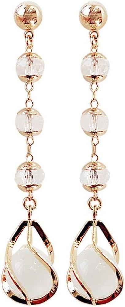 Pendientes de mujer/niña, agujas de plata, borlas de cristal, ópalo, anillo espiral de oro, de aproximadamente 6,0 cm de longitud.