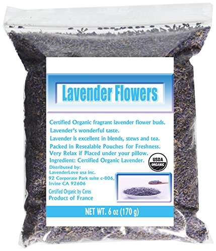 CCnature French Lavender Flowers USDA Organic Dried Culinary Lavender 6 oz by CCnature