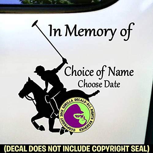 MEMORIAL Polo Horse Rider ADD CUSTOM WORDS Vinyl Decal Sticker E