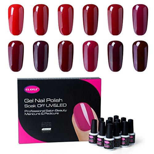 CLAVUZ Gel Nail Polish Kit 12pcs Soak Off Burgundy Nail Polish Set New Starter Nail Art Manicure Pedicure Red Nail Art For Christmas