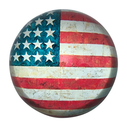 Value Arts Patriotic American Flag Glass Dome Paperweight, 3 Inch Diameter
