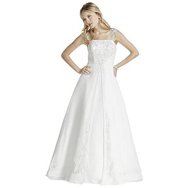 d6a0ed1e16aa A line Chiffon Split Front Overlay Wedding Dress Style V9010, White, 0