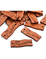 Handgemaakte houten knopen, handgemaakt, 100 stuks, handgemaakt, met de hand gemaakt label, handgemaakt, naaien, knutselen, decoraties, kledingetiketten voor doe-het-zelf, handwerk, sieraden en findings, accessoires
