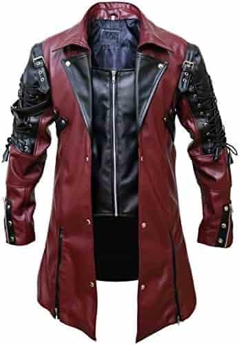 79b84593d1 FaddyRox Steampunk Gothic Men Faux Leather Maroon   Black Coat Jacket