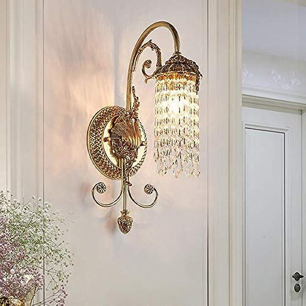 Bradoner 17 45 Cm Gouden Warm Licht Europese Luxe Koper Crystal Wandlamp Villa Hotel Woonkamer