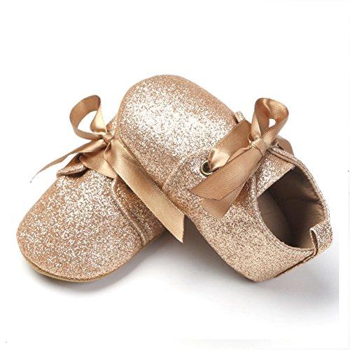 BOBORA Bebes Recien Nacidos Nina Lentejuelas Zapatos De Cuero De Leopardo Hasta Encaje De Arco Sneaker oro