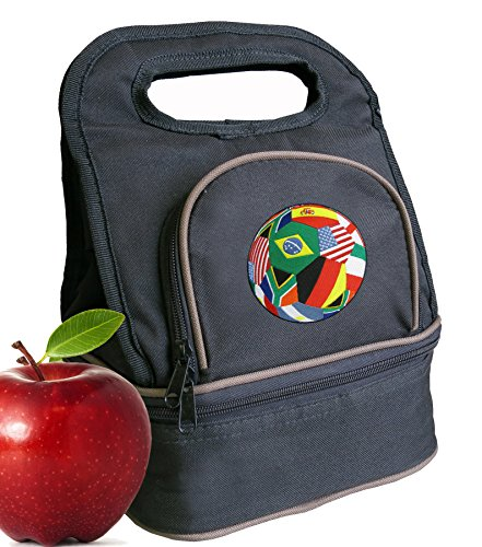 Soccer Lunch Bag Soccer World Cup Fan Lunch Box - 2 Sections! by Broad Bay