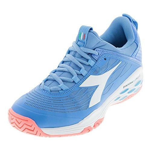 Diadora-Women`s Speed Blushield Fly Ag Tennis Shoes Iris Blue and White-(8894444