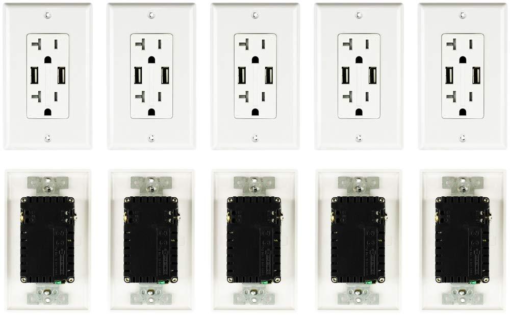 (10-Pack) USB Receptacle/Outlet 125V AC 60Hz 20amp (TR) 4.2amp Output