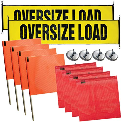 Vulcan Stretch Cord Oversize Load Banners, Flags, and Magnets Kit - Heavy Field Load