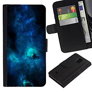 LECELL--Cuero de la tarjeta la carpeta del tirón Smartphone Slots Protección Holder For Samsung Galaxy S5 Mini, SM-G800 -- Azul Galaxia Vía Láctea --