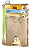 FurArt Slim Minimalist Wallet, Front Pocket Wallets, RFID Blocking, Credit Card Holder with Disassembly D-Shackle (Crazy Horse Champaign)