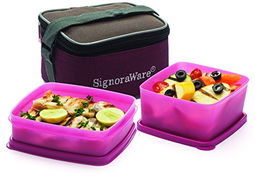 Signoraware Quick Carry Plastic Lunch Box with Bag, Pink