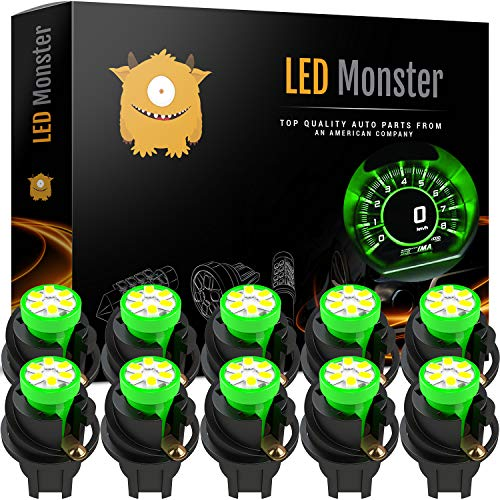 LED Monster T10 194 LED Light Bulb 168 LED Bulbs Bright Instrument Panel Gauge Cluster Dashboard LED Light Bulbs Set 10 T10 LED Bulbs with 10 Twist Lock Socket (Green) ()