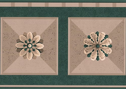 Abstract Floral Bathroom Wallpaper Border Geometric Design, Roll 15' x 7'' ()