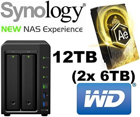 Synology Diskstation ds716 + 12TB – Servidor NAS de 2 bahías (2 x RJ45, 3 x USB 3.0, 1 x eSATA) 2 x 6TB WD Oro AE Data Center 24 x 7 x 365 High End HDD: Amazon.es: Informática