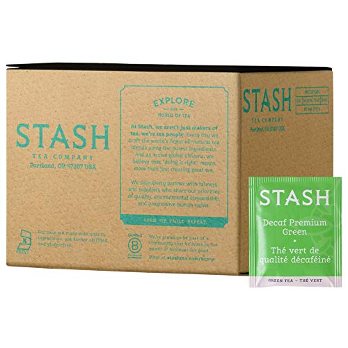 Stash Tea Decaf Premium Green Tea, 100 Count Box of Tea Bags in Foil (packaging may vary)
