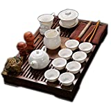 ufengke Exquisite Oriental Ceramic Porcelain Kung Fu Tea Cup Set With Wooden Tea Tray, Chinese Tea Service, Home And Office Use, White