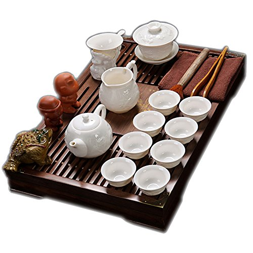 ufengke Exquisite Oriental Ceramic Porcelain Kung Fu Tea Cup Set With Wooden Tea Tray, Chinese Tea Service, Home And Office Use, (Exquisite Porcelain)