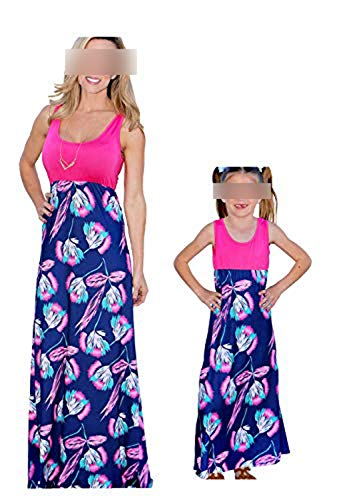 Mommy And Me Easter Dresses (Mommy and Me Dresses Casual Floral Family Outfits Summer Matching Tank Maxi Long Dress (Floral Dress Blue, Child M)