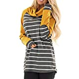 Respctful ♪☆ Women's Fashion Long Sleeve Hooded Sweaters Stripe Patchwork Pullover Casual Sweaters
