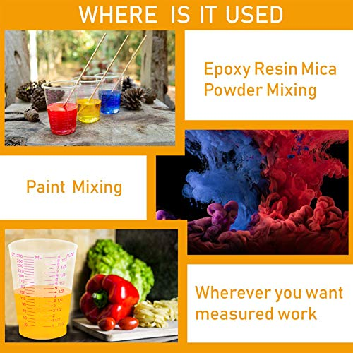 GOGOS 270ml Mixing Measuring Cups Frosted Plastic Cups for Resin, Epoxy, Stain, Pour Art,Mixing Paint 20 pcs- No Lid