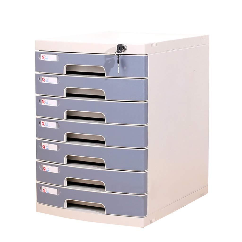 ファイルキャビネットプラスチックデスクトップロッカーファイルボックス4/5/6/7フロアロック付き引き出しタイプグレーブルー (色 : B, サイズ さいず : 7layers) B07MKR9Y3B