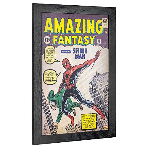 """(Crystal Art Licensed Marvel Amazing Fantasy Spider-Man Comic Book Cover Framed Wall Art 19"""" H x 13"""" L Multicolored)"""