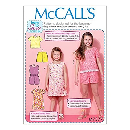 McCalls Girls Easy Learn to Sew Sewing Pattern 7377 Tops, Dresses ...