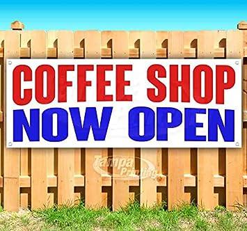 CAFE NOW OPEN Advertising Vinyl Banner Flag Sign Many Sizes