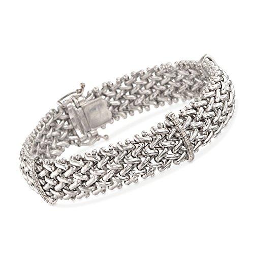 Ross-Simons 0.23 ct. t.w. Diamond Riso Link Station Bracelet in Sterling Silver ()