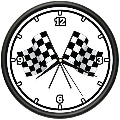 Race Car Driver Frame (RACE FLAG Wall Clock checkered drag racers stock car gift)