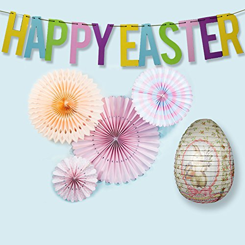 PaperLanternStore.com 6-pc Easter Holiday Backdrop Decoration Combo Decoration Party Pack Includes Banner, Hand Fans and Easter Egg Lantern by Quasimoon