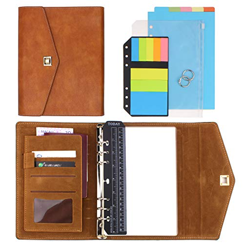 (SynLiZy A5 PU Leather Personal Organizer Undated Planner Set of 12 Accessories (A5 Yellowish Brown))