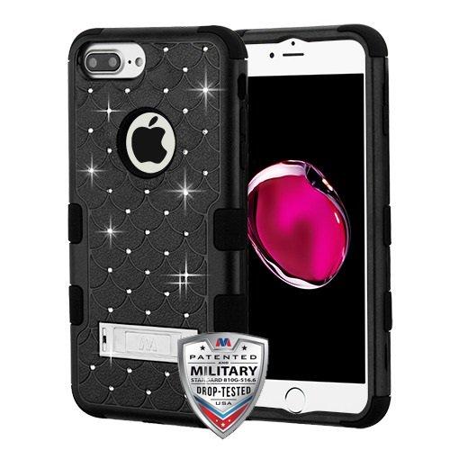 iPhone 6 Plus/6s Plus/7 Plus Case, Mybat Full Star 3 Stand PC/TPU Rubber Case Cover with Diamond for Apple iPhone 6 Plus/6s Plus/7 Plus, Black