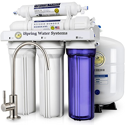 iSpring RCC7 High Capacity Under Sink 5-Stage Reverse Osmosis Drinking Water Filtration System and Ultimate Water Softener- WQA Gold Seal Certified (Industrial Reverse Osmosis)