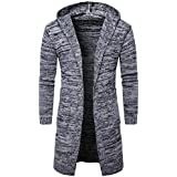 Men Coat,FUNIC Mens Slim Hooded Sweater Fashion Knitted Cardigan Long Trench Coat Jacket (XL, Gray)