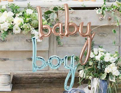 Baby Boy Script (Baby Balloon White Gold Script and Blue Boy - Jumbo 34