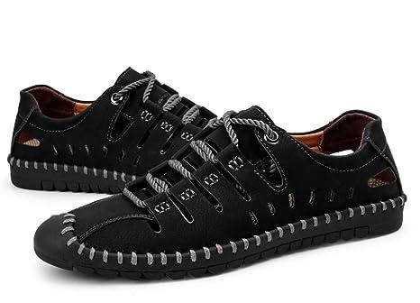 Ywqwdae Mocasines con Cordones para Hombre Zapatos de conducción Respirables Ocasionales sin Slip para Hombre (