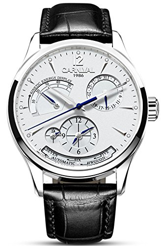 alendar Kinetic Display Dual Time Zone Analog Automatic Mechanical Watch Leather Band (White) ()